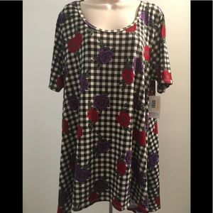 Lularoe XL Perfect T Solid Checkered floral NWT